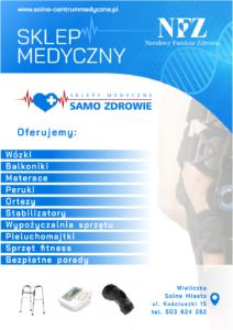 Sklep medyczny - sprzęt refundowany przez NFZ - ulotka - Wielczka